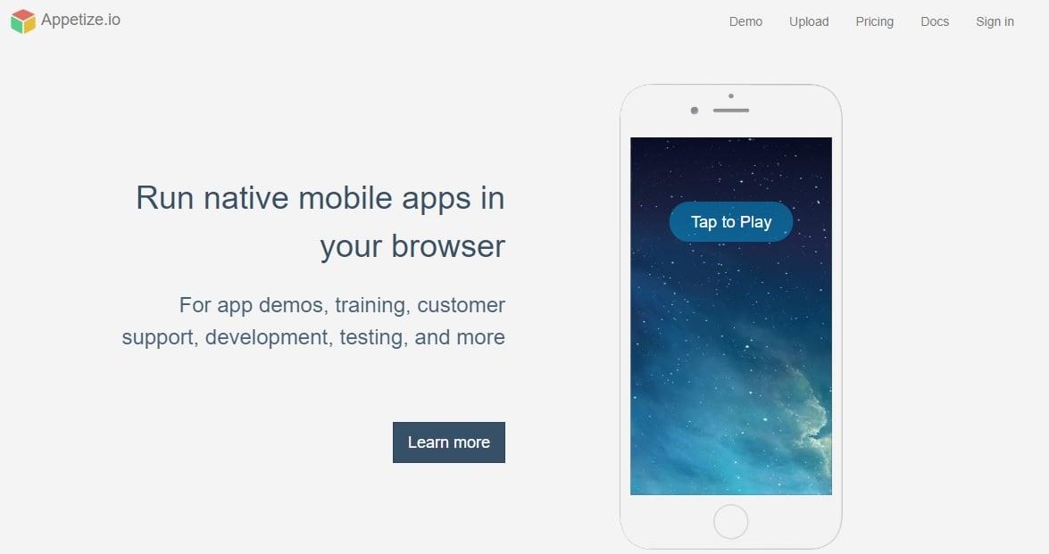 Appetize iPhone apps Simulator