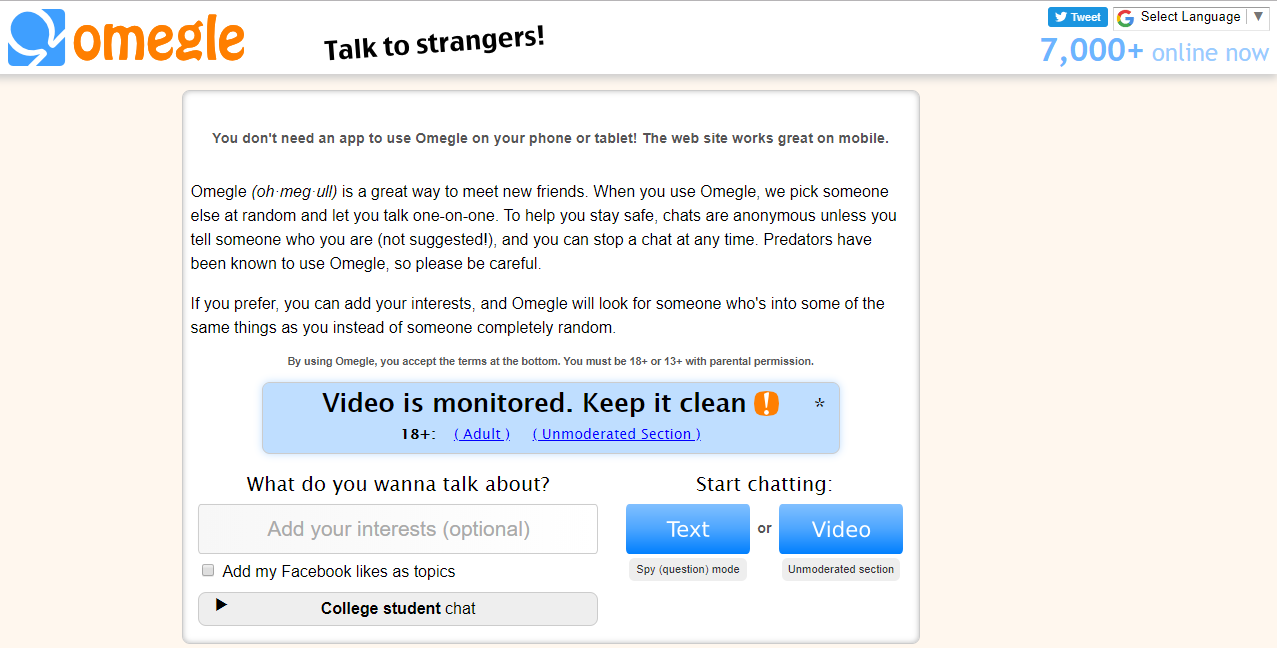 Omegle video chat rooms