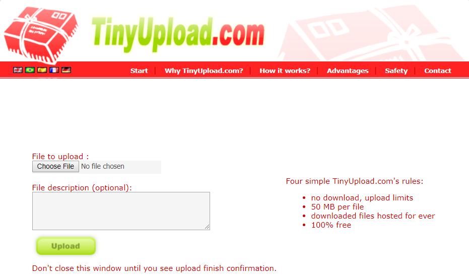 Tiny file Upload without Registration