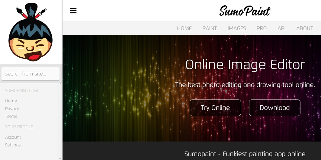 sumopaint free online photo editors