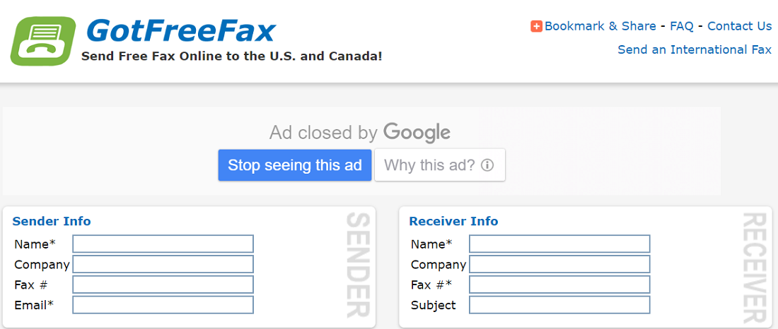 GotFreeFax for free online fax