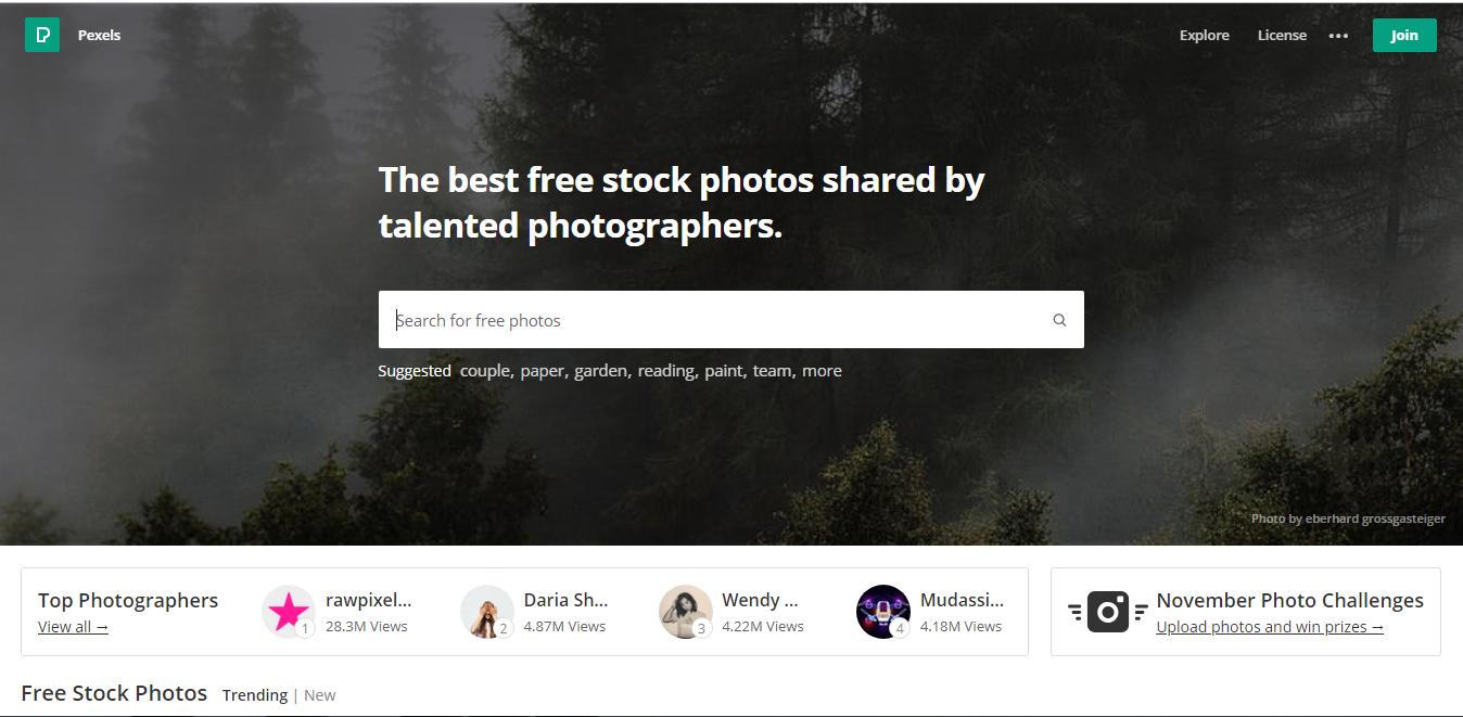 Pexels huge database of photos