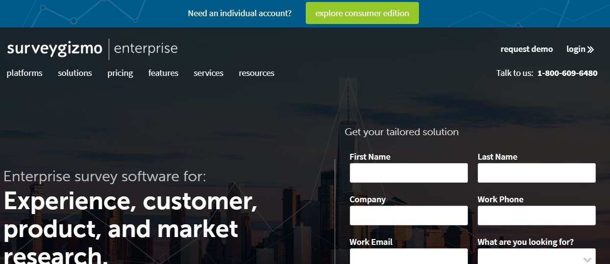 SurveyGizmo for Survey management & Data analysis