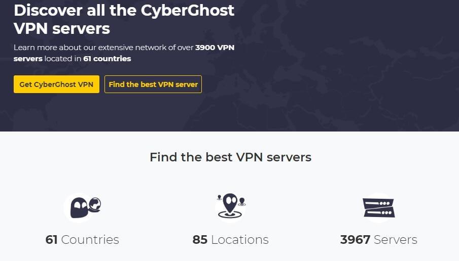 cyberghost vpn server locations