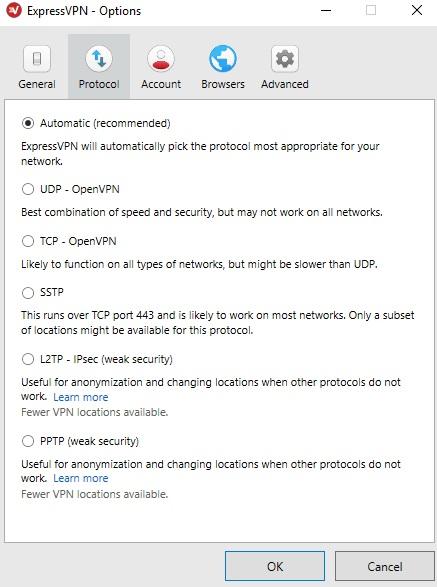 ExpressVPN Protocol setting
