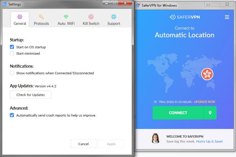 SaferVPN windows client