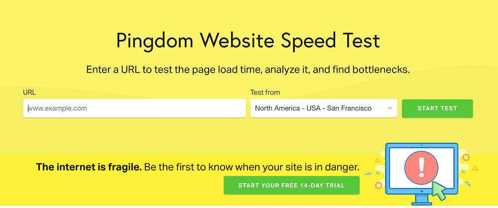 Pingdom - website speed testing