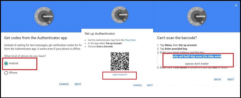 Google Authenticator code option