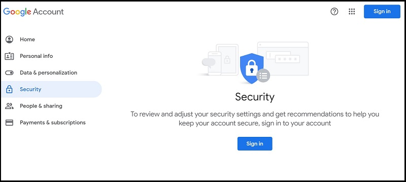 Google Security tab