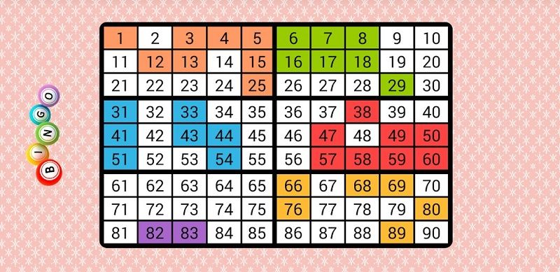 Random numbers for bingo card
