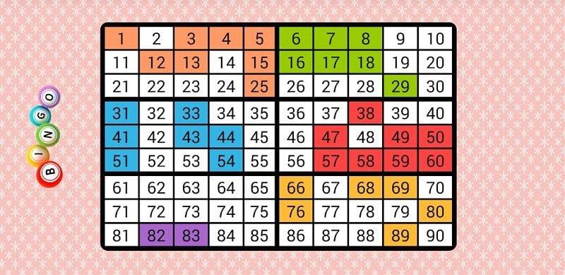 Random numbers for bingo card