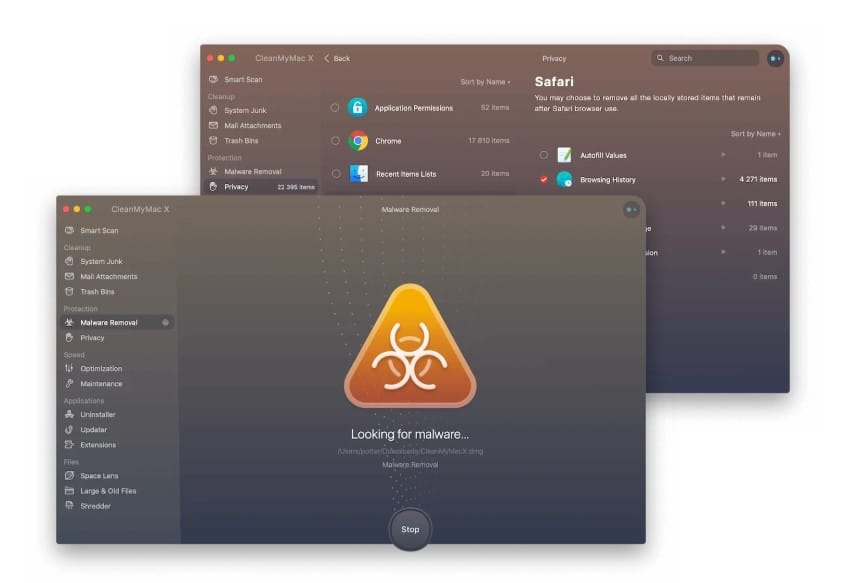 CleanMyMac Protection tools