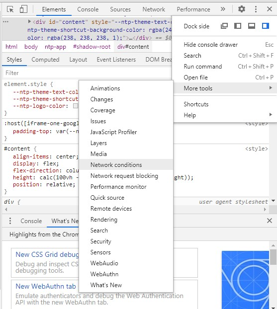 Chrome Developer tools option