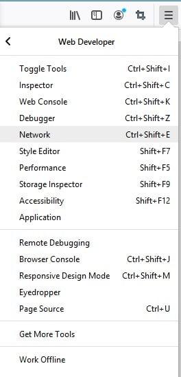 Firefox web console option