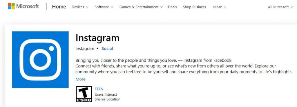 Microsoft Instagram apps