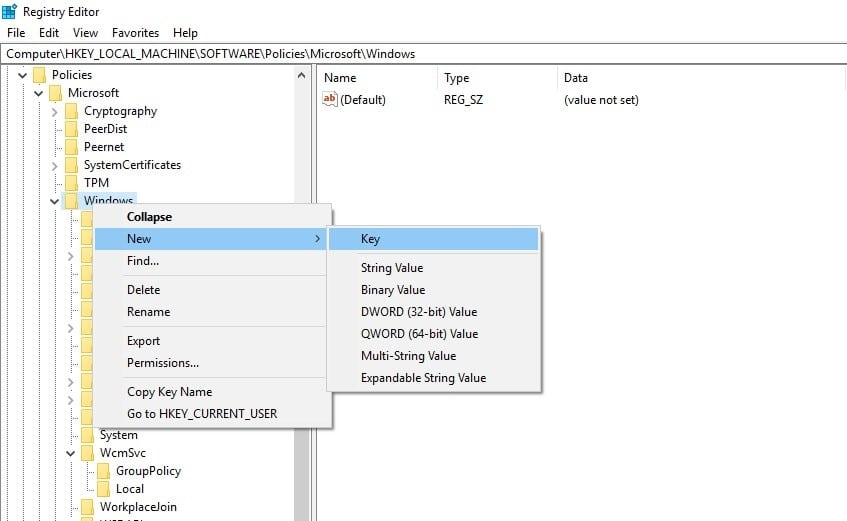 Registry Editor windows tab