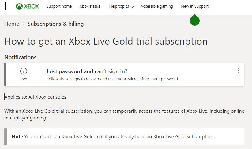 Xbox live gold trial offer