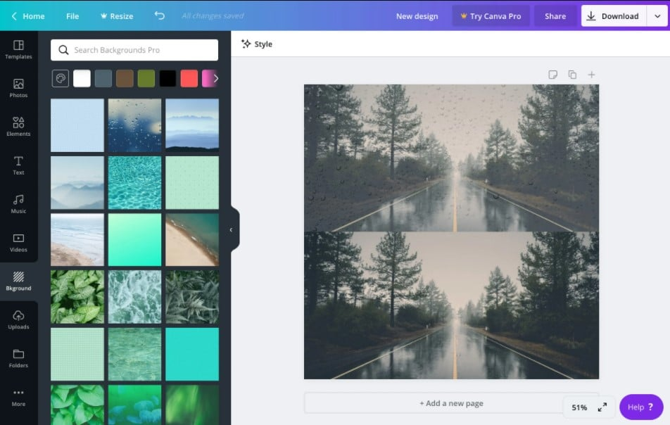 canva Creation Interface