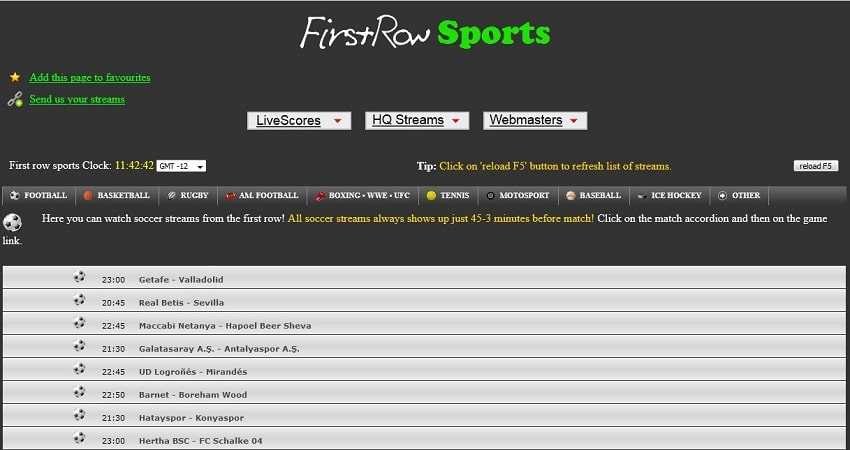 Firstsrowsports streaming