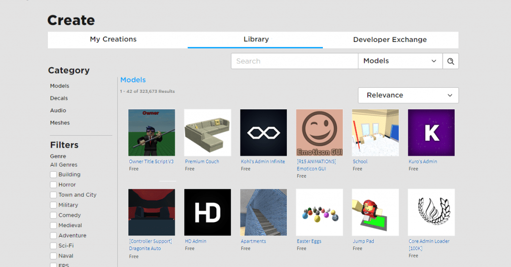 Create page of the Roblox site