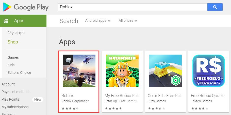 Search roblox in google play