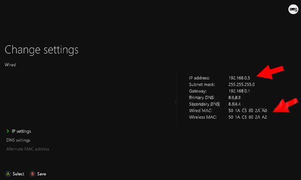 Xbox One console IP Settings