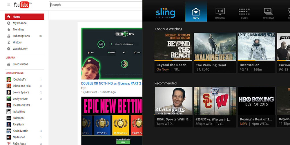 Youtube and sling interface compare