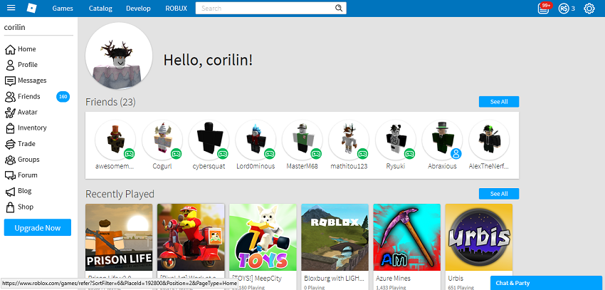 Roblox homepage